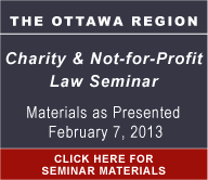Ottawa Region Charity & Not-for-Profit Law Seminar